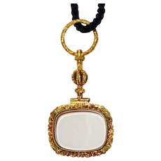 Beautiful Gold Antique Quizzing Glass Pendant Circa 1850