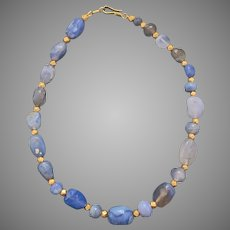 Ancient Rare Blue Chalcedony Gold Bead Necklace