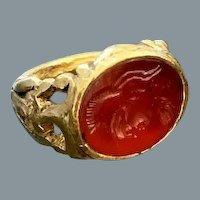 Fine Ancient Intaglio of Minerva Ring