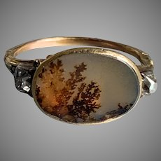 Rare Georgian Gold Diamond Picture Dendrite Ring