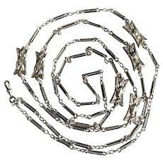 Superb French Silver Art Nouveau Long Chain