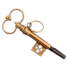 Antique French 18 Karat Gold Watch Key Pendant