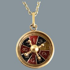 Antique French 18 Karat Gold Roulette Wheel Charm
