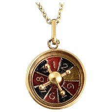 Antique French 18 Karat Gold Roulette Wheel Charm