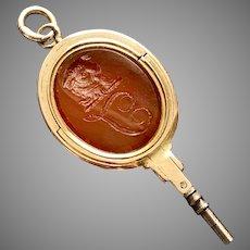 Rare Gold Georgian Taurus Opening Seal and Watch Key
