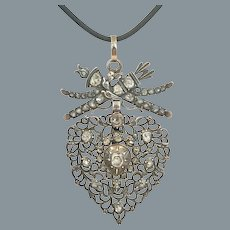 Beautiful Antique French Diamond Heart Pendant