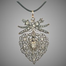 Beautiful Antique French Diamond Heart Pendant