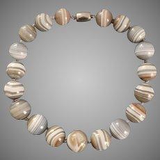 Rare Large Antique Scottish Grey Banded Agate Beads