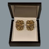 Elegant  18 Karat Gold Signed Earrings