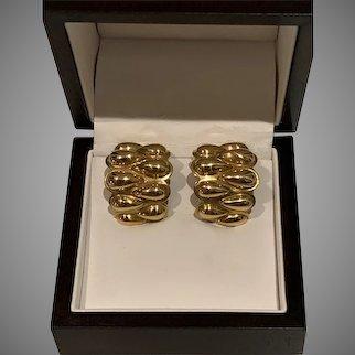 Elegant  18 Karat Gold Signed Earrings