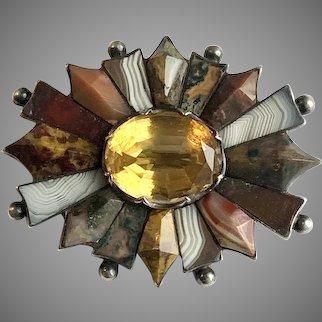 Rare Antique Scottish Agate Ruffled Brooch