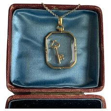 Antique French 18 Karat gold locket and Gold Key