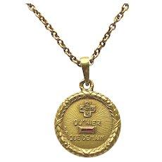 Sentimental Petite French Gold Love Pendant Signed
