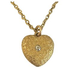 Antique Heart Locket Gold and Diamond