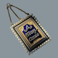 Rare Antique French Enamel Diamond A Mon Amie Pendant