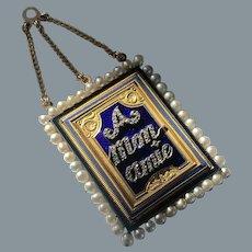 Rare Antique French Enamel Diamond A Mon Amie Pendant