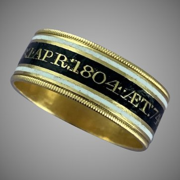 Antique Gold Mourning Ring Dated 1804