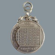 Antique Sterling Perpetual Calendar 1898 Pendant