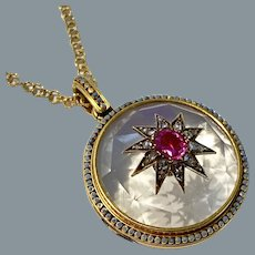 Antique French Ruby Diamond and Crystal 18 Karat Gold Locket