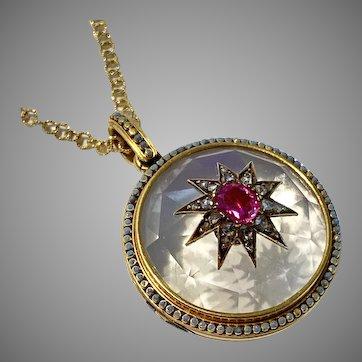 Antique French Ruby Diamond and Crystal 18 Karat Gold Locket