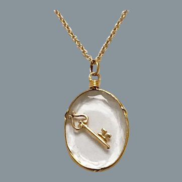 Antique French 18 Karat Gold Locket and Key