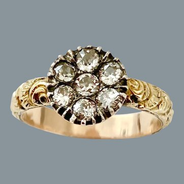 Lovely Georgian Diamond Flower Cluster Ring Circa 1800
