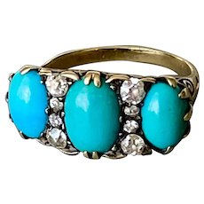 Vibrant Antique Persian Turquoise Diamond Ring