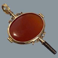Antique 18 Karat Gold Carnelian Watch Key 19th Century