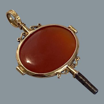 Antique 18 Karat Gold Chalcedony Watch Key 19th Century