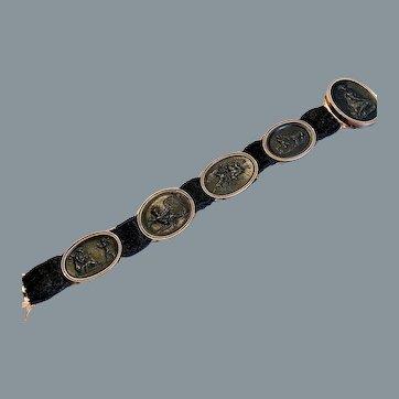 Antique Berlin Iron and Gold Rare Slide Bracelet