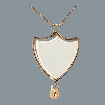 Very Rare Antique French 18 Karat Gold Shield Locket and Padlock