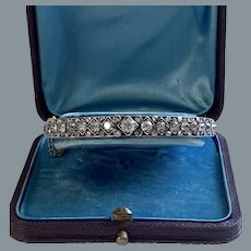 Antique French Beautiful  Diamond Bangle Bracelet Circa 1880