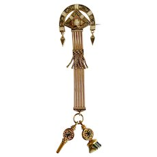 Antique Fine Gold Enamel  Watch Fob Pin