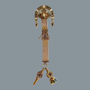 Antique Fine Gold Enamel  Watch Fob Pin