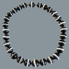 Antique Victorian Large Banded Agate Beaded Necklace