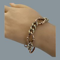 Antique Two Color Gold 14 Karat Gold Link Bracelet