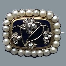 Rare Georgian Diamond Natural Pearl Small Pin