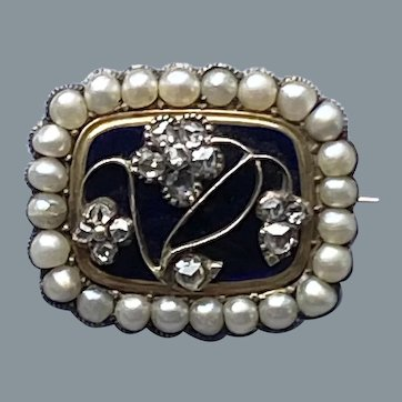 Rare Georgian Diamond Natural Pearl Small Pin