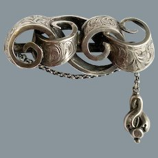 Antique Victorian Sterling Signed Hilliard and Thomason Pin 1848