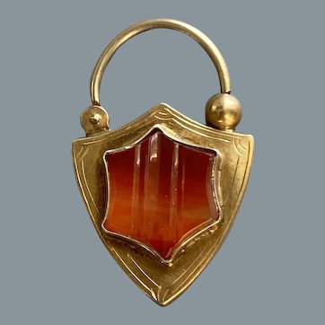 Antique English Silver Carnelian Padlock