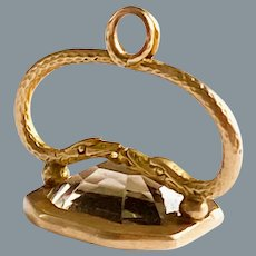 Antique Petite French Gold Eternal Love Pendant Double Snakes Circa 1810