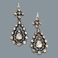 Grand Antique Diamond Georgian Earrings Circa 1830