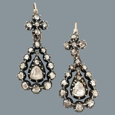 Grand Antique Diamond Georgian Earrings Circa 1830