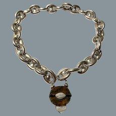 Antique Victorian Anchor Link Necklace With Padlock Circa 1880