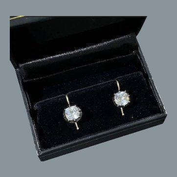Superb Antique Georgian Cushion Cut Paste Solitaire Earrings Circa 1820
