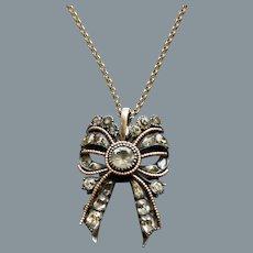 Antique 18th Century Portuguese Paste Bow Pendant