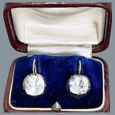 Rare Large Antique  Paste Cushion Cut Silver Gold Earrings Circa 1820
