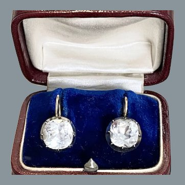 Radiant Rare Large Georgian Radiant Paste Cushion Cut Earrings