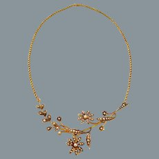 Antique Gold Pearl English Fine Necklace