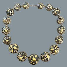 Exceptional Antique Shakudo Mixed Metal Necklace